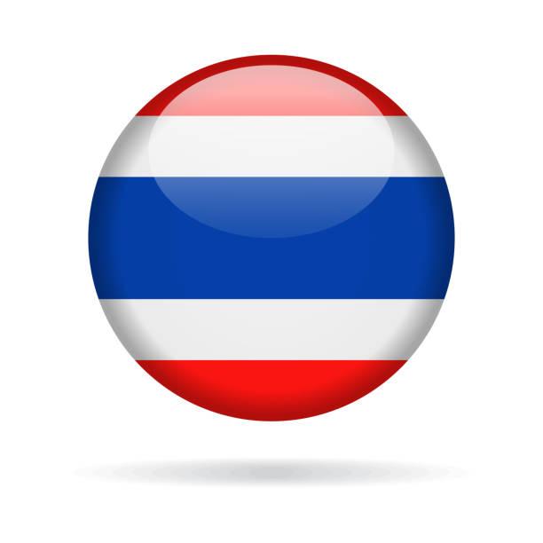 ilustraciones, imágenes clip art, dibujos animados e iconos de stock de tailandia - redondo brillante icono de bandera vector - bandera tailandesa