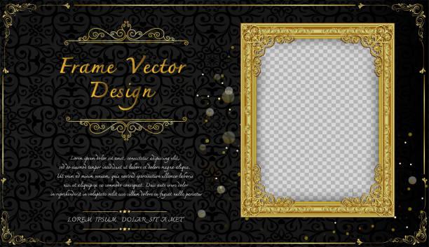 stockillustraties, clipart, cartoons en iconen met thailand koninklijke gouden frame op drake patroon achtergrond, vintage fotolijst op drake achtergrond, antieke, vector ontwerppatroon - thailand