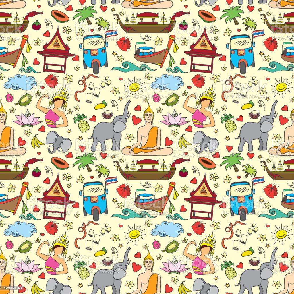 Thailand seamless pattern vector art illustration