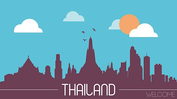thailand-skyline-kontur - pattaya stock-grafiken, -clipart, -cartoons und -symbole