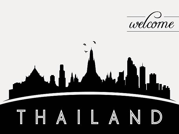 thailand skyline silhouette vektor-illustration - pattaya stock-grafiken, -clipart, -cartoons und -symbole