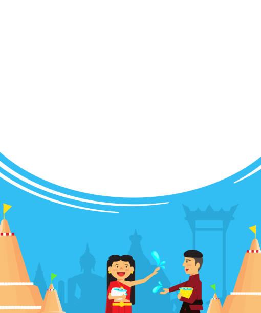 neujahr von thailand thailand songkran festival - ayutthaya stock-grafiken, -clipart, -cartoons und -symbole