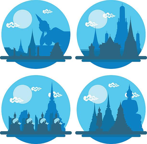 thailand-tempel wahrzeichen set - ayutthaya stock-grafiken, -clipart, -cartoons und -symbole