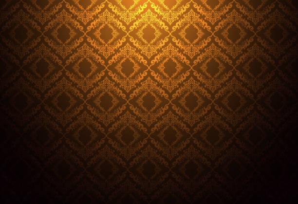 stockillustraties, clipart, cartoons en iconen met thailand thaise vintage patroon textuur achtergrond wallpaper ontwerp vector - bruin