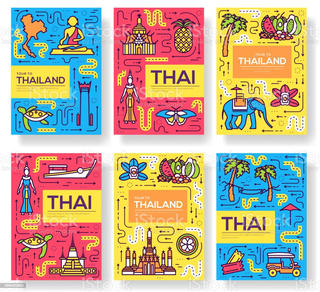 Thailand Thin Line Brochure Cards Set Country Template Of