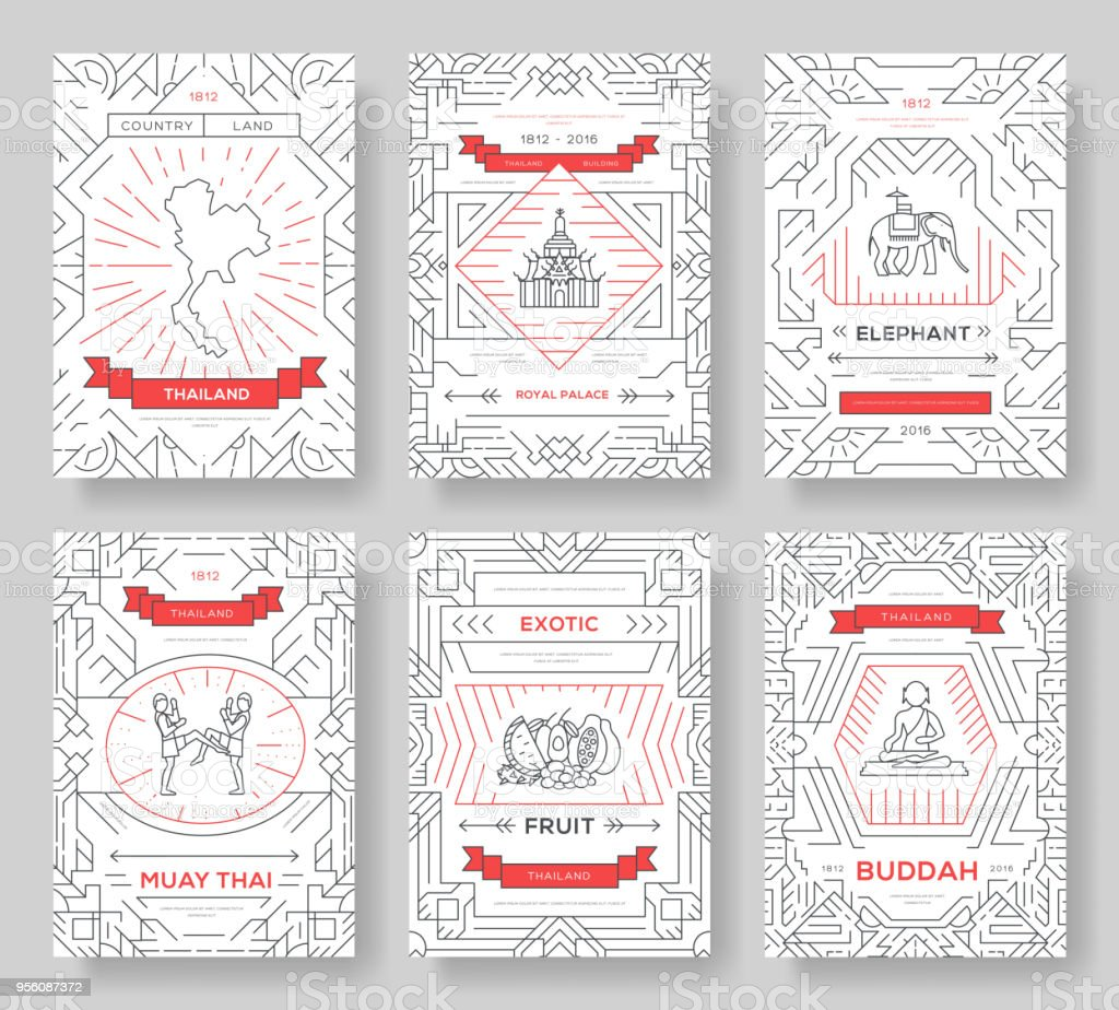 Thailand thin line brochure cards set. Country template of flyer, magazines, posters, book cover, banners. Vector outline invitation concept background. Layout architecture modern pages