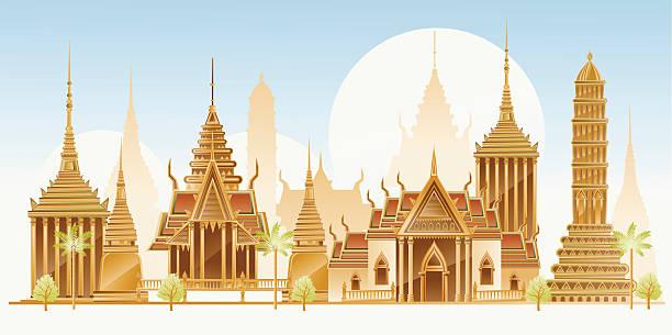 tradycyjna architektura, w tajlandii - tajlandia stock illustrations