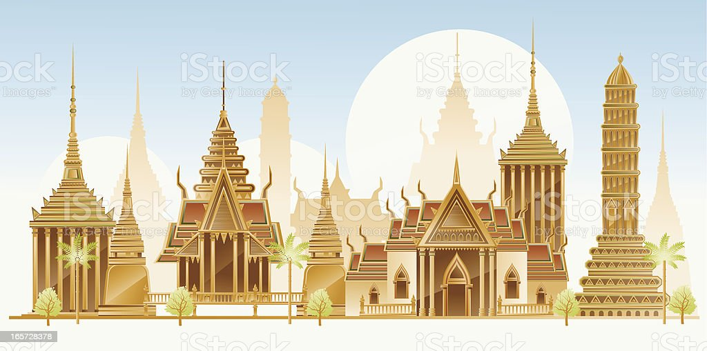 Thailand traditional architecture vector art illustration