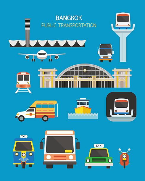 stockillustraties, clipart, cartoons en iconen met thailand transportation objects set - airport pickup