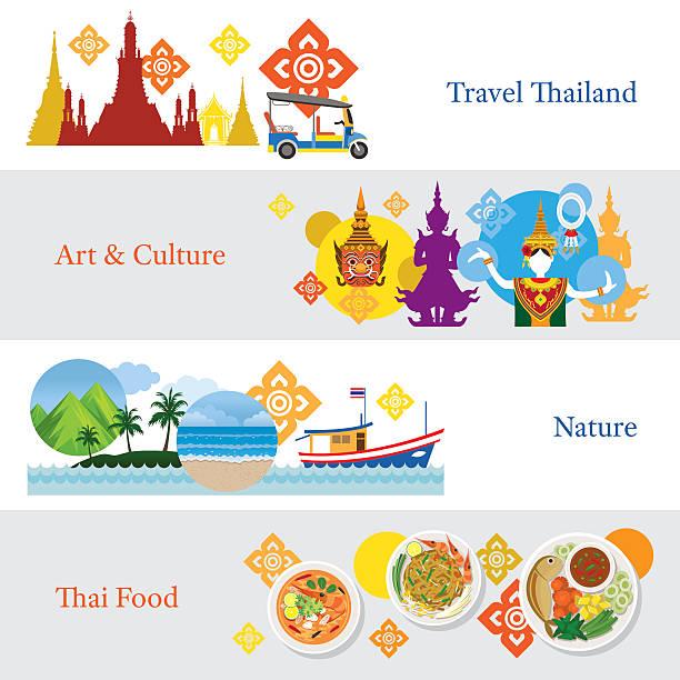 thailand travel banner concept set - thai food stock illustrations, clip art, cartoons, & icons