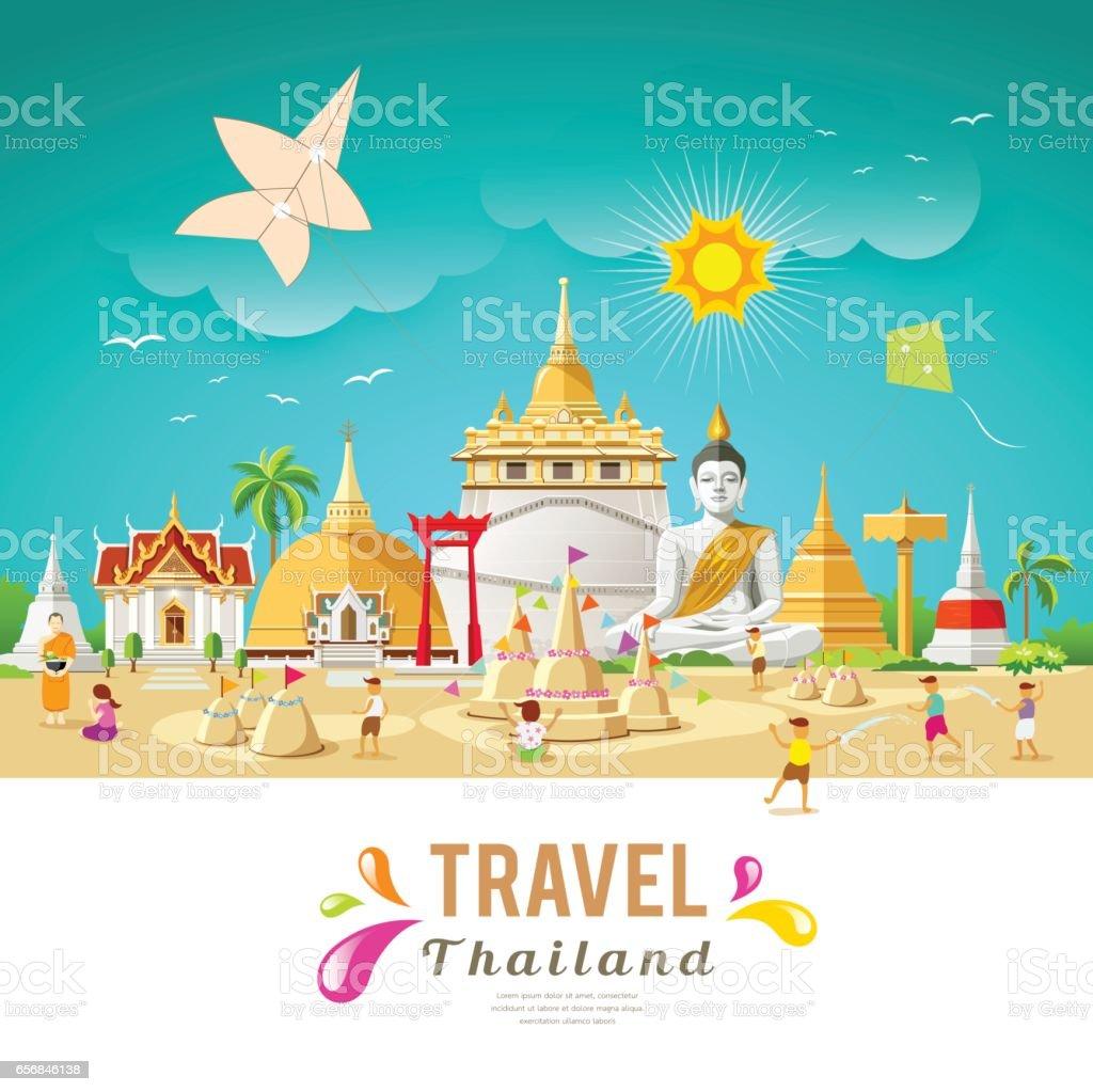 Thailand reisen, Gebäude und Wahrzeichen – Vektorgrafik
