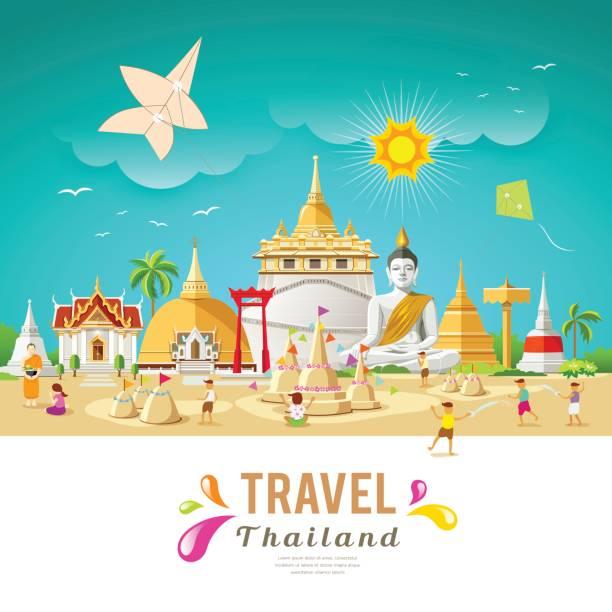 thailand travel building and landmark - songkran festival stock illustrations, clip art, cartoons, & icons