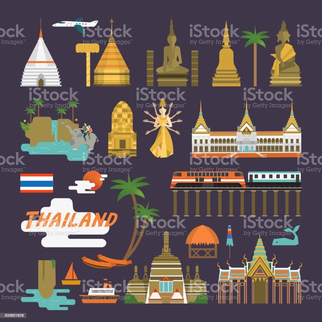 Thailand travel collection vector art illustration
