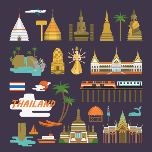 thailand reisen-kollektion - ayutthaya stock-grafiken, -clipart, -cartoons und -symbole