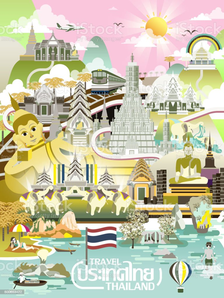 Thailand travel concept poster vector art illustration