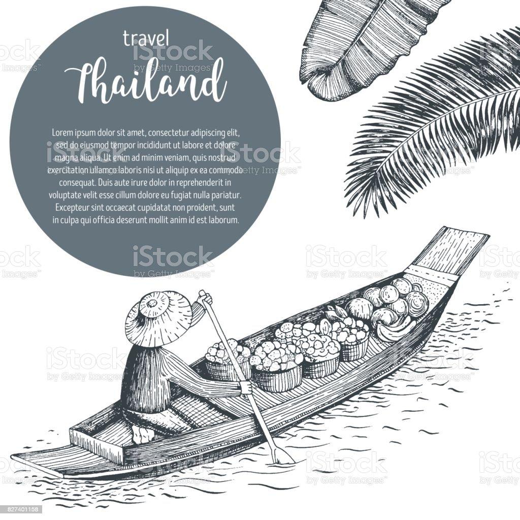 Thailand travel design. Floating market. Thailand poster, vector illustration. vector art illustration