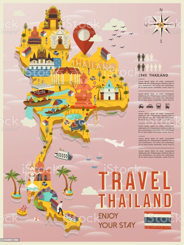 Thailand Travel Map Stock Vector Art More Images of 2015 500651788