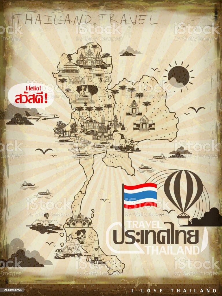 Thailand travel poster vector art illustration