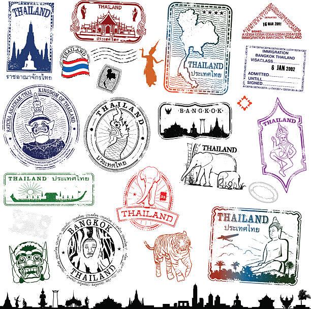 stockillustraties, clipart, cartoons en iconen met thailand travel stamps - thailand