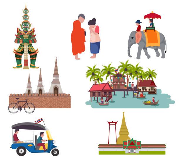 thailand reisen - ayutthaya stock-grafiken, -clipart, -cartoons und -symbole