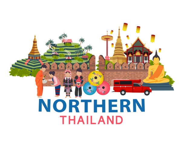 Thailand travel Thailand travel with Northern culture concept, all in flat style design illustration chiang mai province stock illustrations