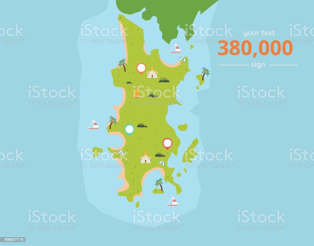 Thailand Inseln Karte.Thailandtropische Inseln Mit Kultursymbole Und Text