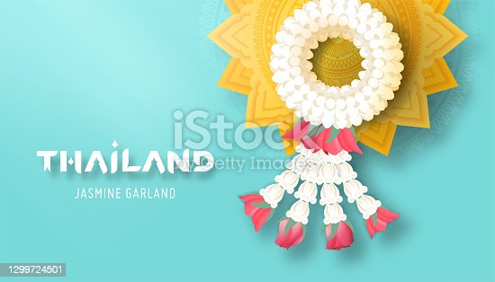 istock Thailand typography with thai jasmine garland and golden pedestal tray top view vector illustration 1299724501