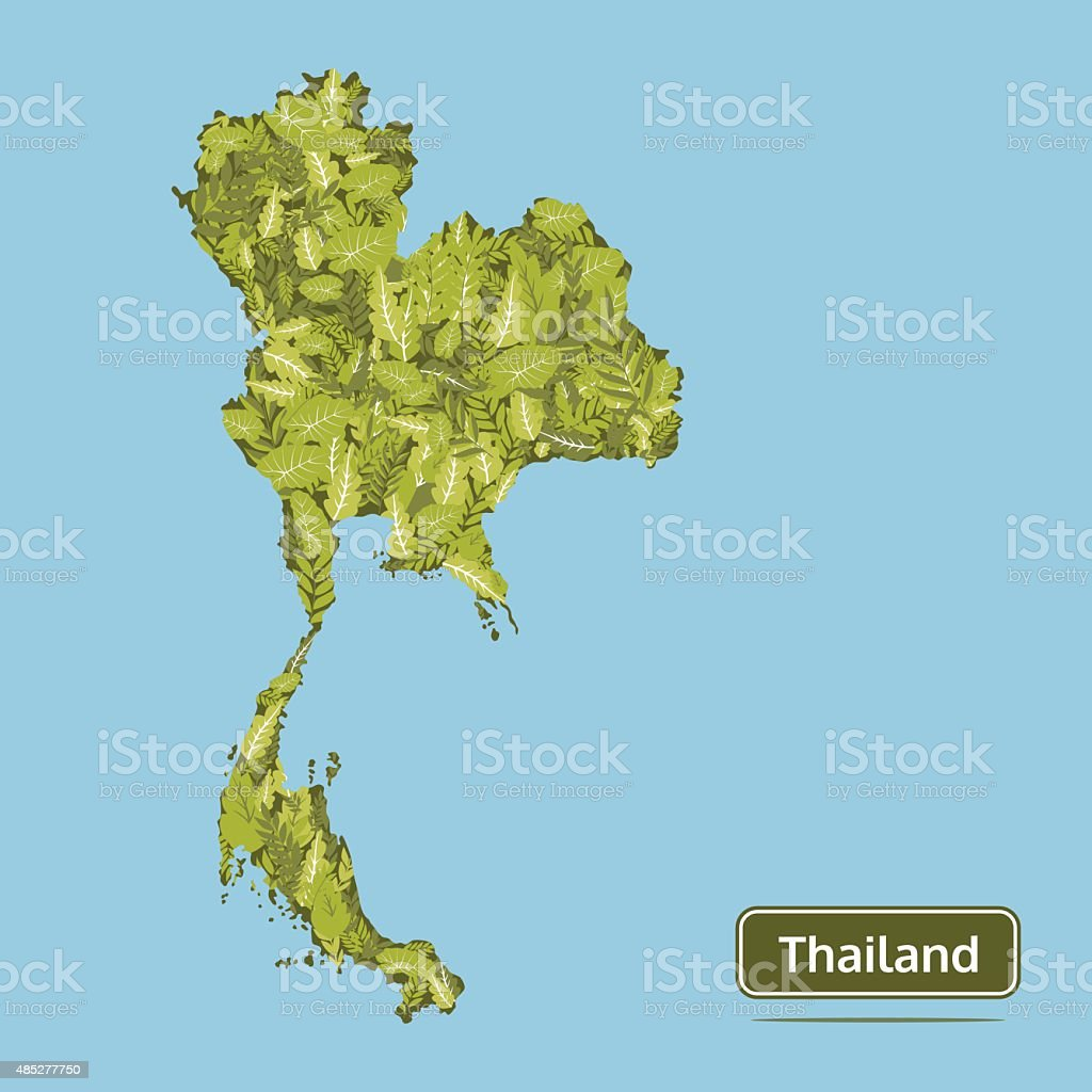 Thailand Vector Map Green Leaves Thailand Map Illustration Stock ...