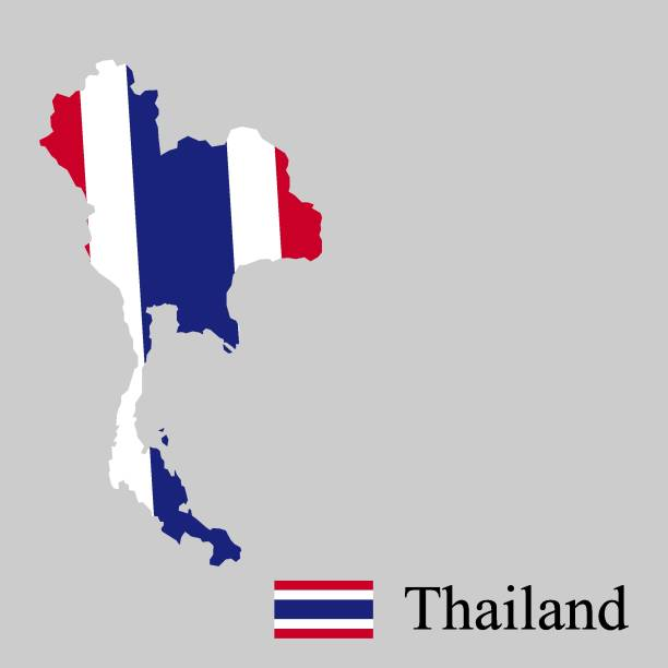 thailand vector map - thai flag stock illustrations, clip art, cartoons, & icons