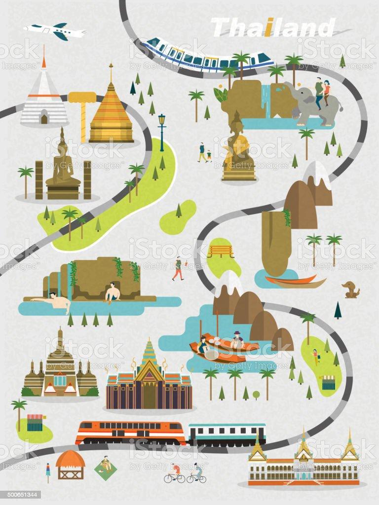 Thailand walking map vector art illustration