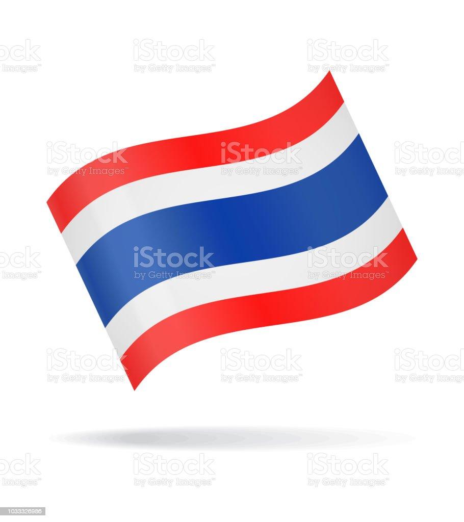 Thailand - Waving Flag Vector Glossy Icon vector art illustration
