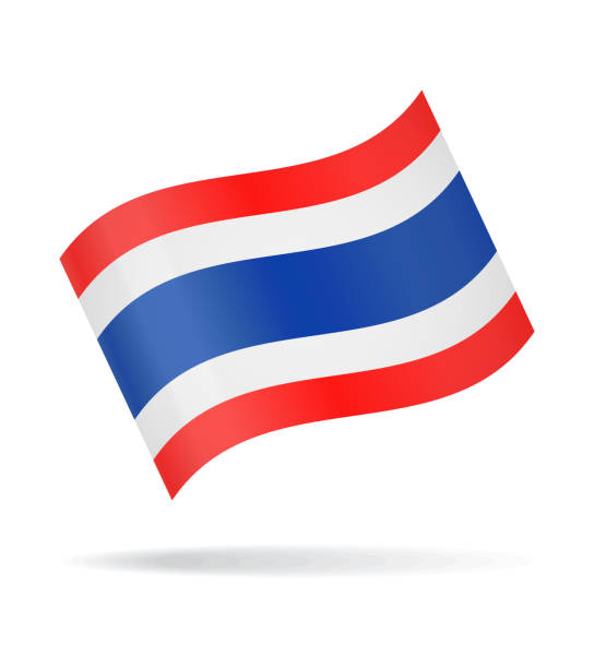 thailand - waving flag vector glossy icon - thai flag stock illustrations, clip art, cartoons, & icons