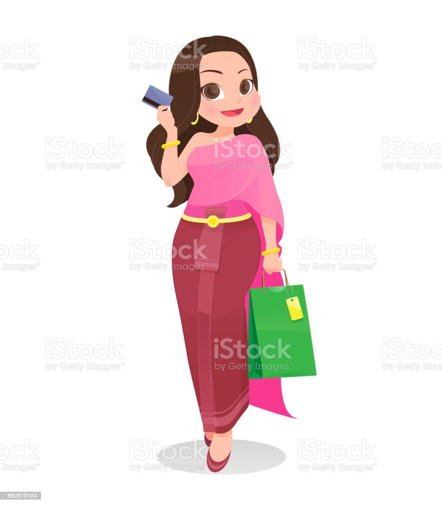 Thailand woman shopping with credit card against white Background, Cartoon, Vector illustration vector art illustration