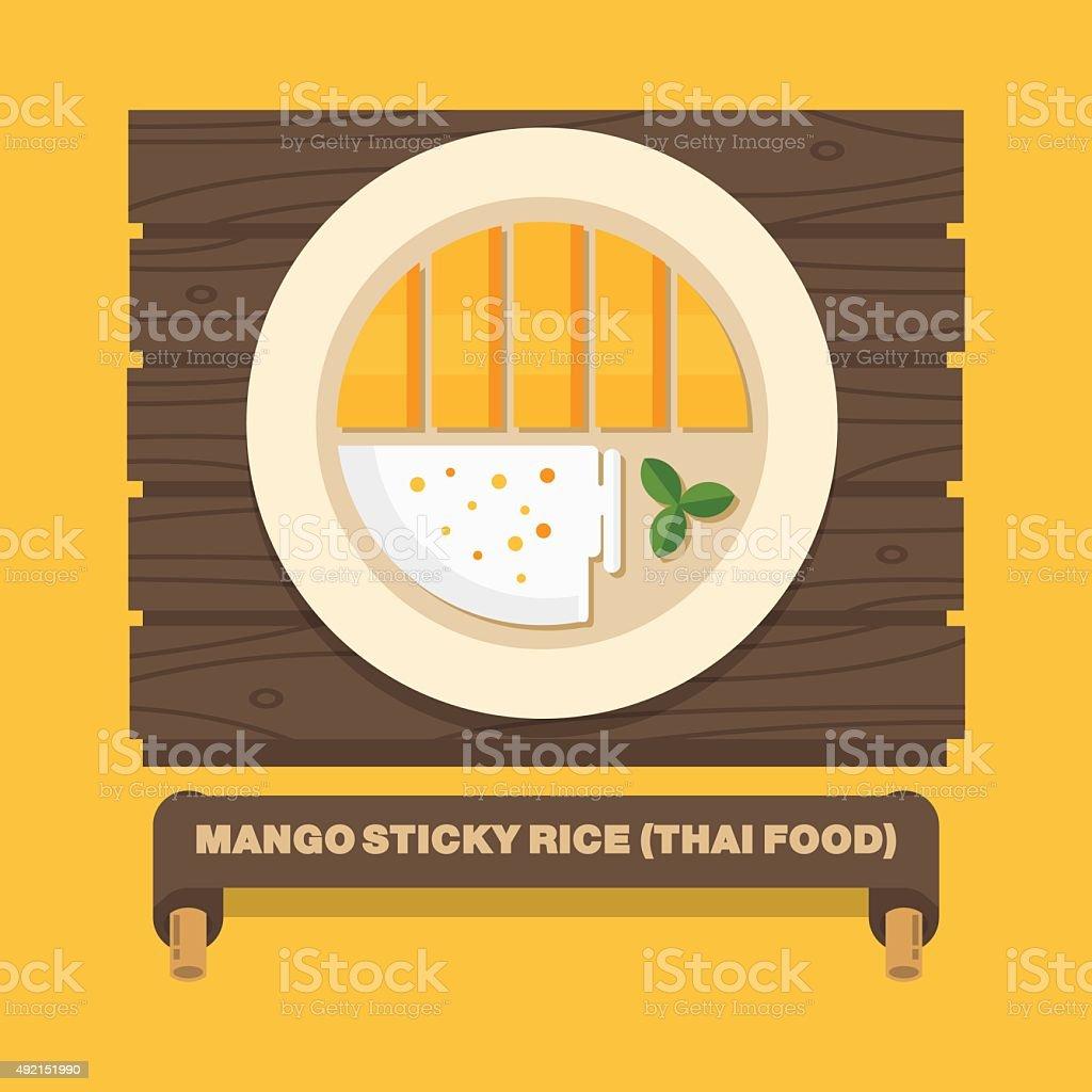 Pratos nacionais da Tailândia, manga, arroz tailandês-vetor plana - ilustração de arte em vetor