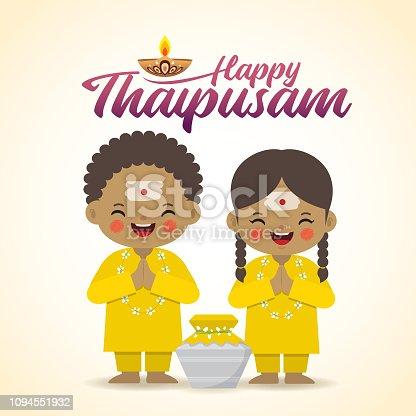 istock Thaipusam - Cartoon indian kids & milk pot 1094551932