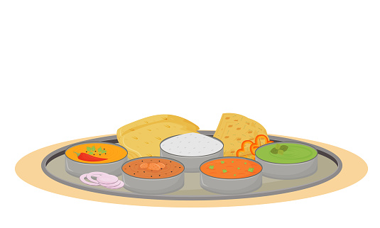 Thali cartoon vector illustration. Indian traditional dish, metal plate with meals flat color object. Restaurant food portion serving, steel tray with delicacies isolated on white background