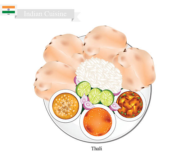 thali or indian steamed rice, flatbread and lentil soup - indisches essen stock-grafiken, -clipart, -cartoons und -symbole