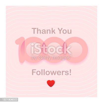 istock thank you 1000 followers. girly cute piunk congratulation card for social network. Vector illustration 1321906022