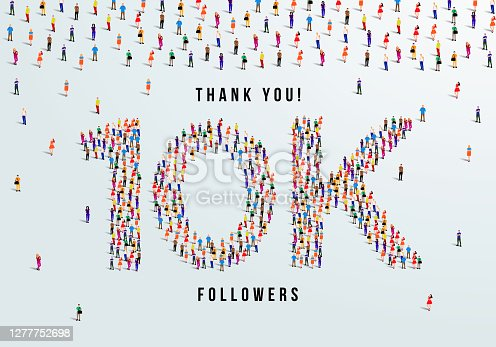 istock Thank you, 10k or ten thousand followers celebration design. Large group of people form to create a shape 10k. Vector illustration. 1277752698