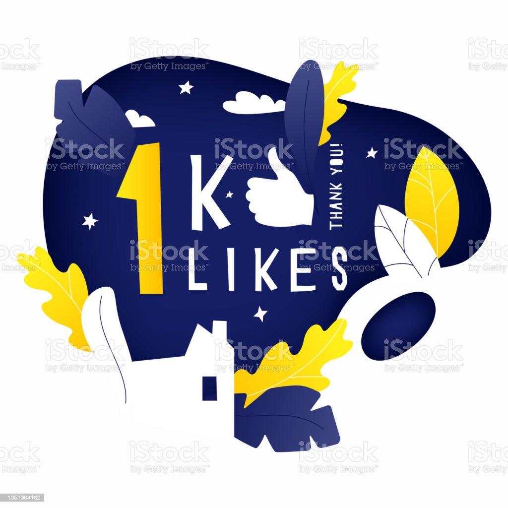 Thank You 1k Likes Post Stock Illustration