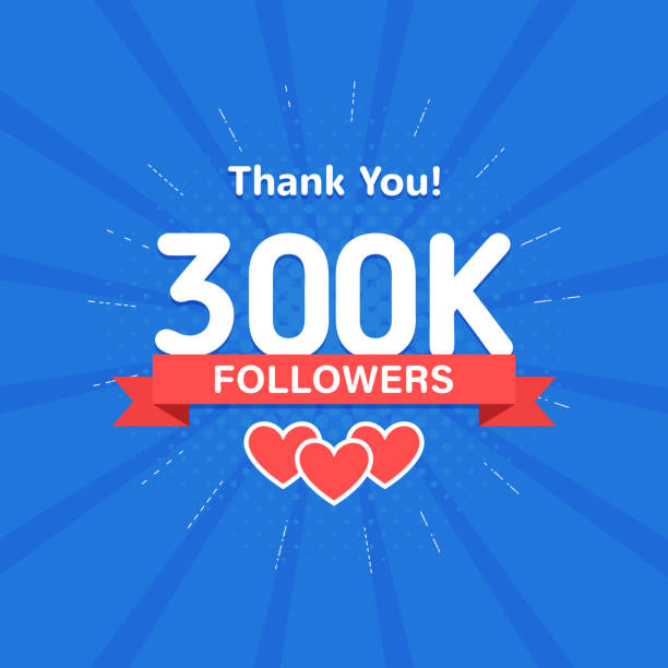 thank you 300000 or 300k followers. congratulation card. web social media concept. blogger celebrates a many large number of subscribers. - naśladownictwo stock illustrations