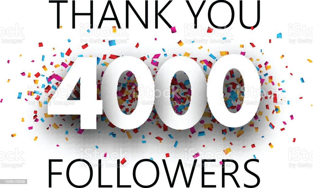 ありがとう4000 の信者カラフルな紙吹雪とポスター thank youの