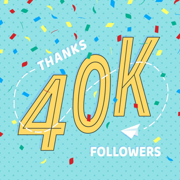 Thank you 40000 followers numbers postcard. Congratulating retro flat style design 40k thanks image vector illustration isolated on confetti background. Template for internet media and social network. Thank you 40000 followers numbers postcard. Congratulating retro flat style design 40k thanks image vector illustration isolated on confetti background. Template for internet media and social network. 40 kilometre stock illustrations