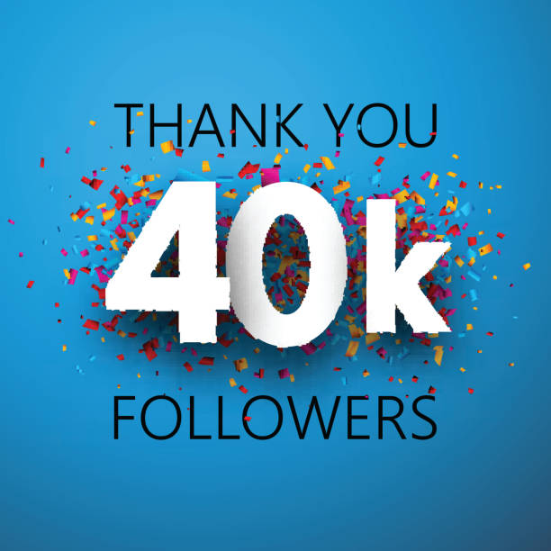 Thank you, 40k followers. Card with colorful confetti. Thank you, 40k followers. Card with colorful confetti for social network. Vector background. 40 kilometre stock illustrations