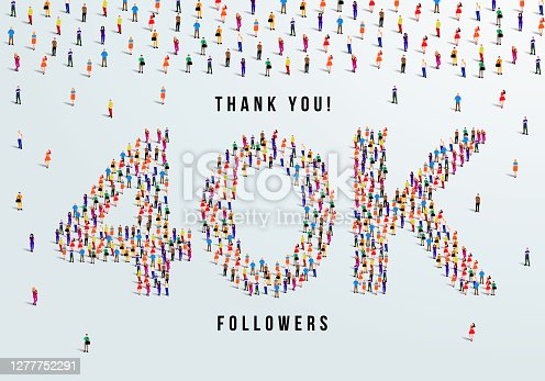 istock Thank you 40K or forty thousand followers. large group of people form to create 40K vector illustration 1277752291