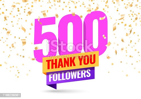 Celebrating the events of five thousand subscribers. Thank you 500 followers. Thanks followers Poster template for Social Networks. large number of subscribers. Vector illustration