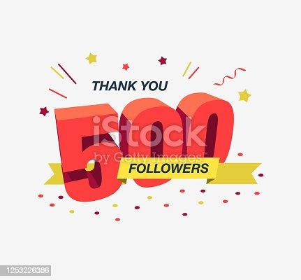 istock Thank you 500 social media followers, modern flat banner 1253226386