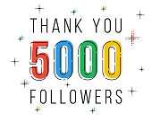Thank you 5000 followers. Congratulations social network progress. Vector line art illustration.