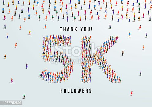 Thank you, 5k or five thousand followers celebration design. Large group of people form to create a shape 5k. Vector illustration.