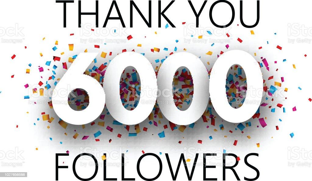 ありがとう6000 信者カラフルな紙吹雪とポスター thank youのベクター